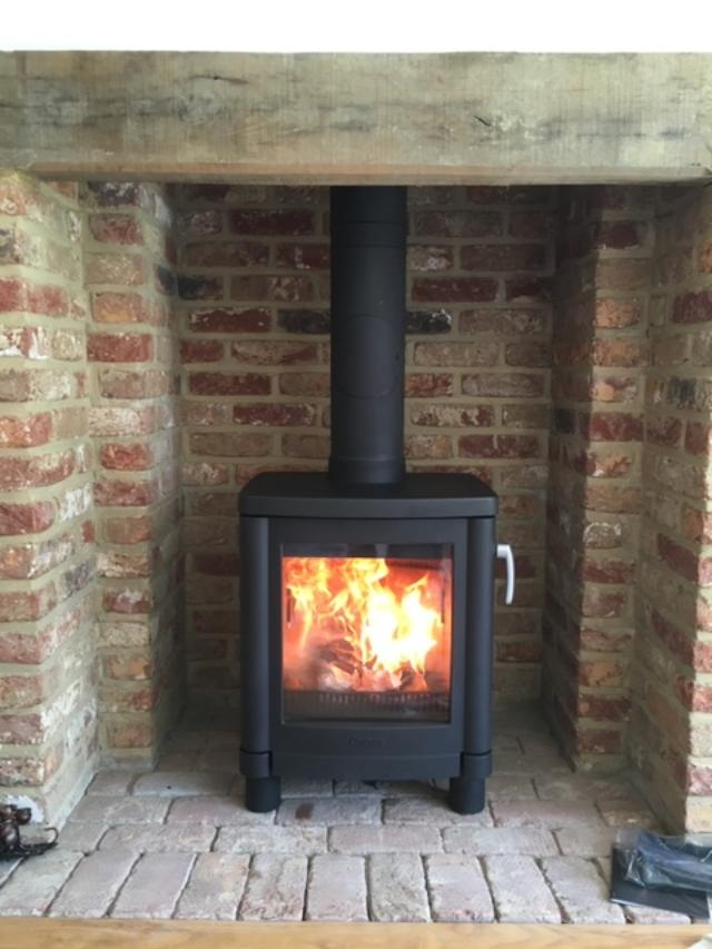 Contura wood burning stove, installed in Cranbrook.